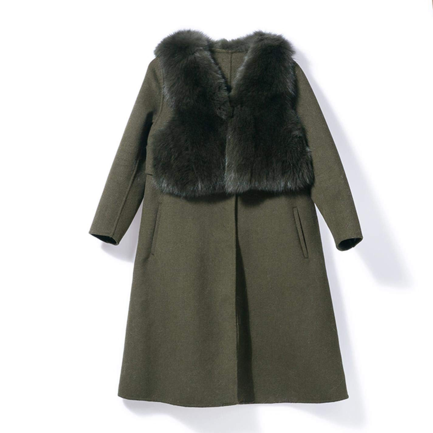 Natural Real Fox Fur Vest Double-Faced Cashmere Wool Parkas