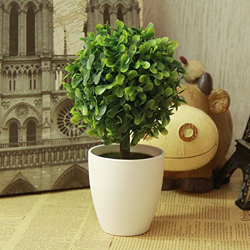 10'' Artificial Fake Potted Plants Plastic Green Topiary Ball Shrubs Faux Tree with White Planter Pot for Home Kitchen Office Indoor Table Centerpieces Decors (Pots For Centerpieces)