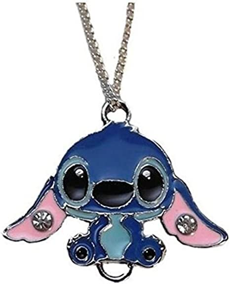 Main Street 24//7 Lilo /& Stitch Movie Stitch Character Metal//Enamel Pendant with 17 Chain Blue