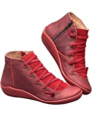 GoGlor Arch Support Ankle Boots Women Side Zip Casual Boots, Red Vintage Breathable PU Leather Elastic Sole Low Heel Flat Ankle Boots for Travel and Daily Wear