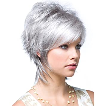 Amazon.com   QianBaiHui Gray Wig short Wigs for White Women - Short Hair Wig  Gray White Heat Resistant Synthetic Hair Fashion Full Wig + Wig Cap LDS018    ... 130e5dab5555