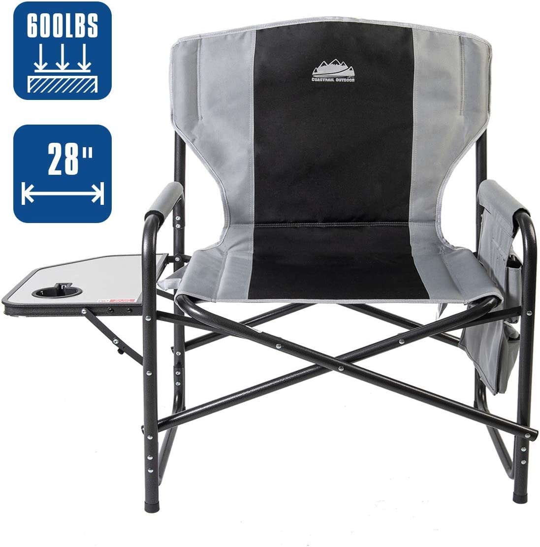 Coastrail Outdoor Oversized Director Chair 600lbs, 28 Wide, XXL Full Back Padded Camp Chair with Table Storage, Heavy Duty for Camping, Patio, Lawn