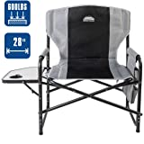 "Coastrail Outdoor Oversized Director Chair 600lbs, 28"" Wide, XXL Full Back Padded Camp Chair with Table & Storage, Heavy Duty for Camping, Patio, Lawn"