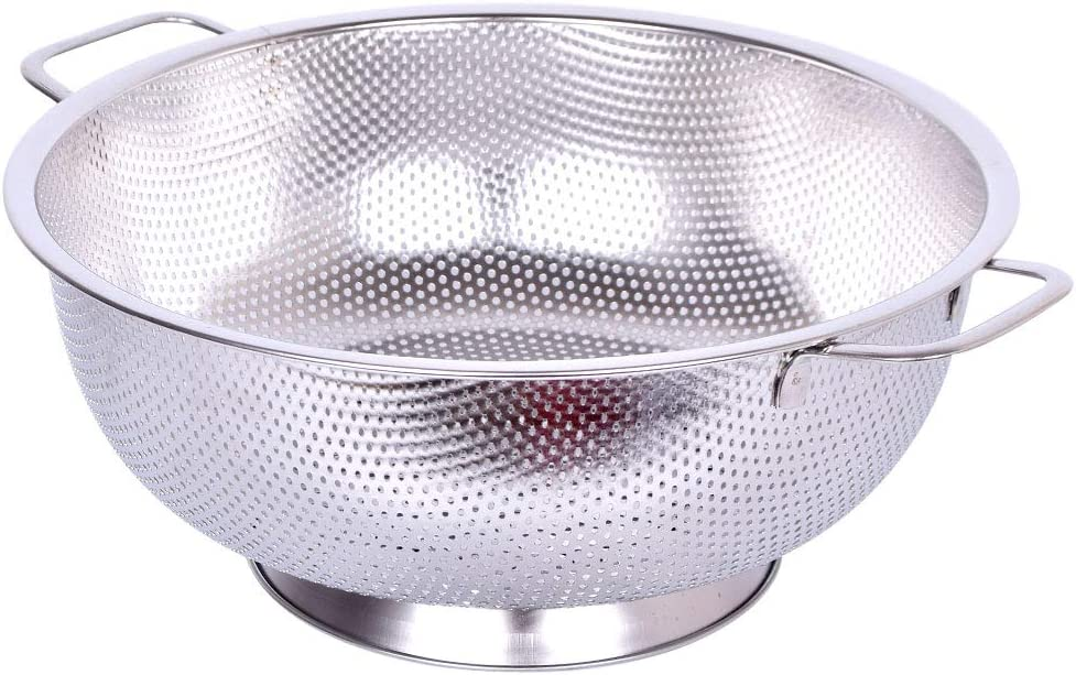 Stainless Steel Colander - Micro-Perforated 5-Quart Colander for Pasta, Berry, Veggies, Fruits, Noodles, Salads - Kitchen Food Strainer with Heavy Duty Handles and Large Stable Ring Base