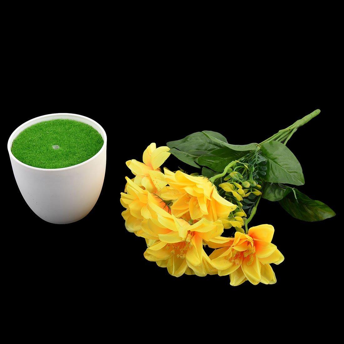 Amazon.com: eDealMax Oficina plástico arte de DIY del ornamento de la simulación Artificial ramo de Flores amarillas: Home & Kitchen