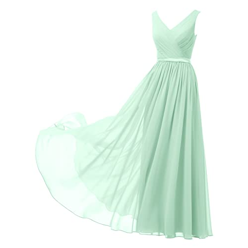Alicepub V-Neck Chiffon Bridesmaid Dress Long Party Prom Evening Dress Sleeveless