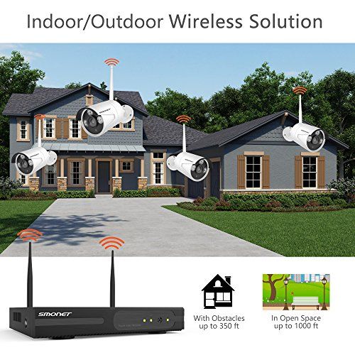 SMONET-Expandable-System-Wireless-Security-Camera-System-8CH-960P-HD-Wireless-Network-IP-Security-Camera-System4pcs-960P-IndoorOutdoor-IP-cameras65ft-Night-VisionP2PEasy-Remote-ViewNo-HDD
