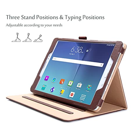 LUXURY Custodia Protettiva in Pelle per Samsung Tab s2 Tablet Custodia Cover Case Stand Marrone