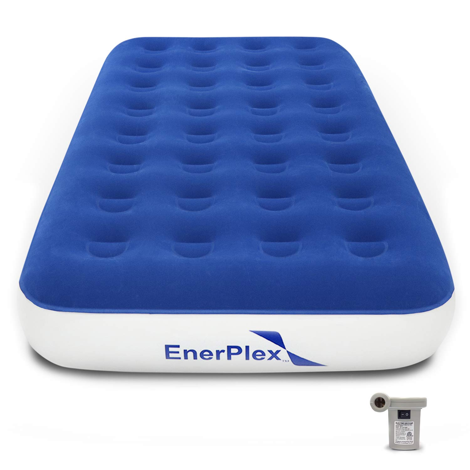 EnerPlex Never-Leak Camping Series Twin Camping Airbed with High Speed Pump