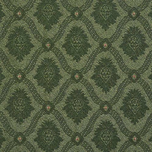 A488 Forest Green Two Toned Brocade Medallion Upholstery Fabric by The - Sectional Two Set Toned