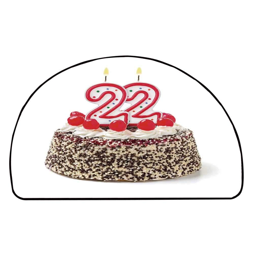 C COABALLA 22nd Birthday Decorations Comfortable Semicircle Mat,Chocolate and Cake with Cherries and Candles Festive Year Display for Living Room,11.8'' H x 23.6'' L