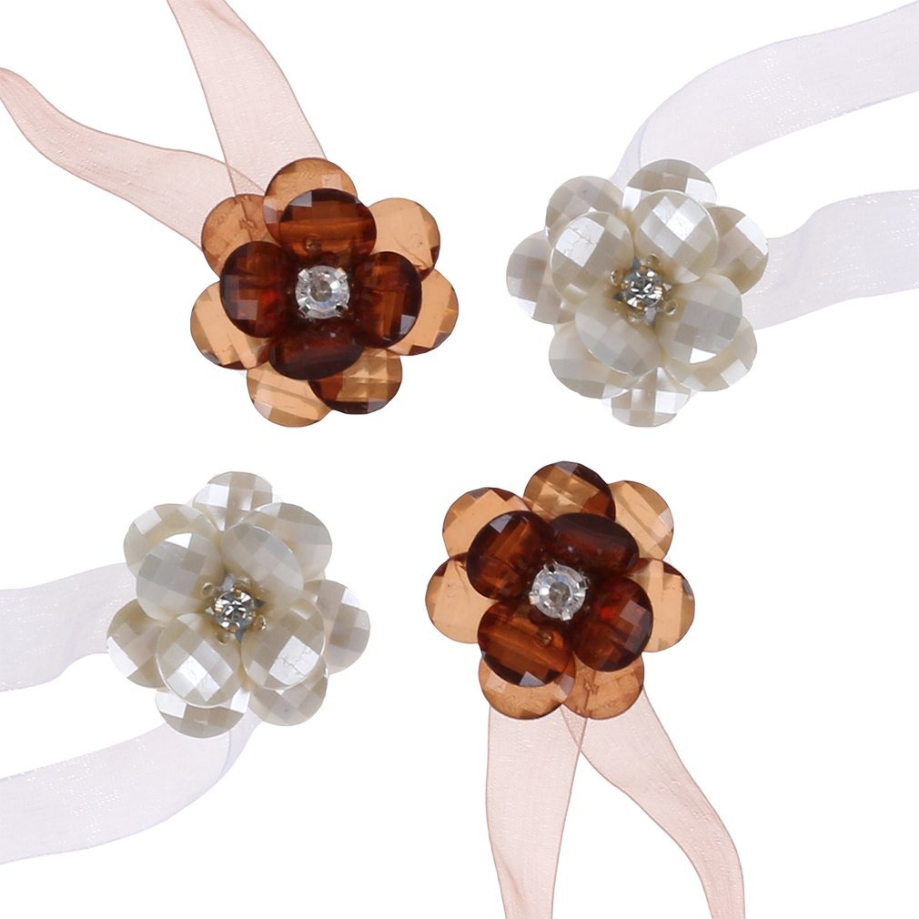 TEKEFT Set of 2 Pair Ribbon Wrap Magnetic Flower Curtain Clips Tiebacks Holdbacks for Home Office Decoration (clear-E)