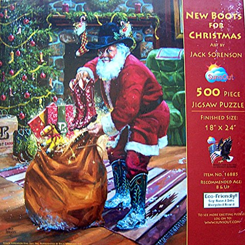 SunsOut 500 Piece Jigsaw Puzzle New Boots for Christmas by Jack Sorenson (Jack Sorenson Puzzles)