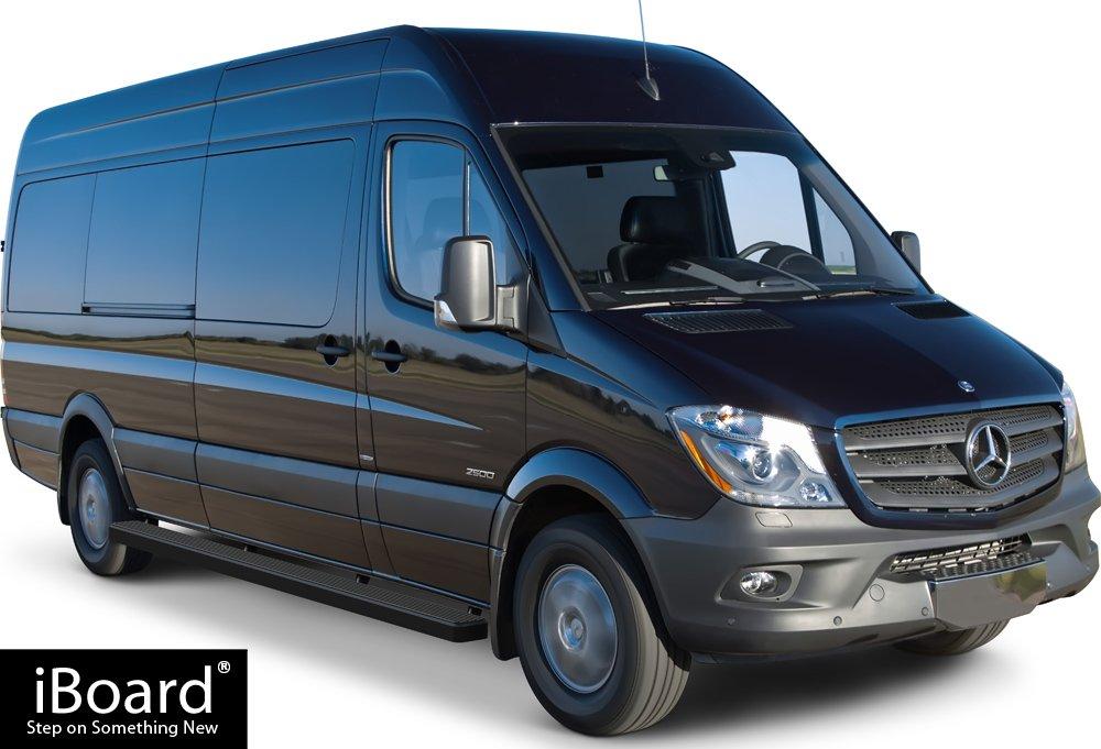 iBoard Running Boards 5 Matte Black Custom Fit 2007-2009 Dodge Sprinter Full Size Van Nerf Bars | Side Steps | Side Bars 10-17 Mercedes-Benz Sprinter