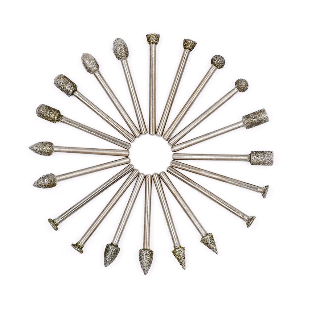 50Pcs 150 Grana Set Frese Diamante - GOXAWEE Set Punte Diamantate con 3mm Gambo per Dremel/Accessori per Utensili Rotanti/Fai-Da-Te Incisione, Intaglio, Molatura e Lucidatura