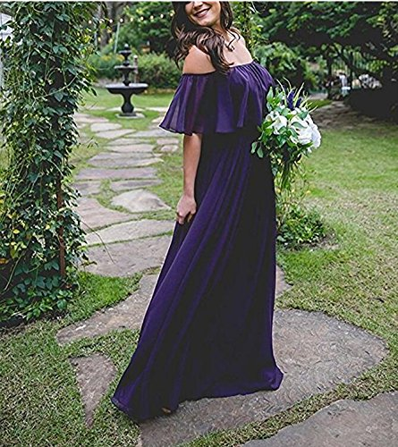 Dress Sexy Gown Blue Evening Long Prom Shoulder Royal Chiffon the Pink Bridesmaid Off wXqXUrv
