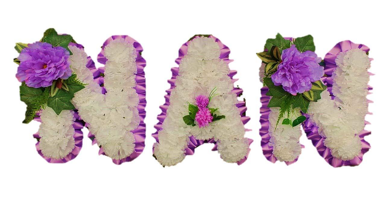stems of elegance NAN- 3-Letter-Word-Silk-Artificial-Funeral-Flowers-Wreath-Memorial-Grave-Tribute