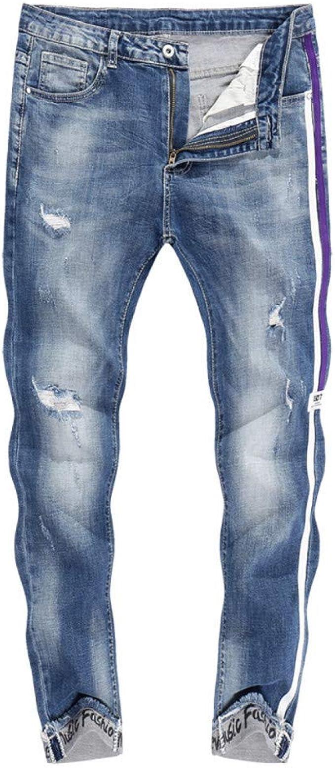 Herren Röhrenjeans Skinny Jeans Seitenstreifen Zerrissen Denim Bleistift Hosen