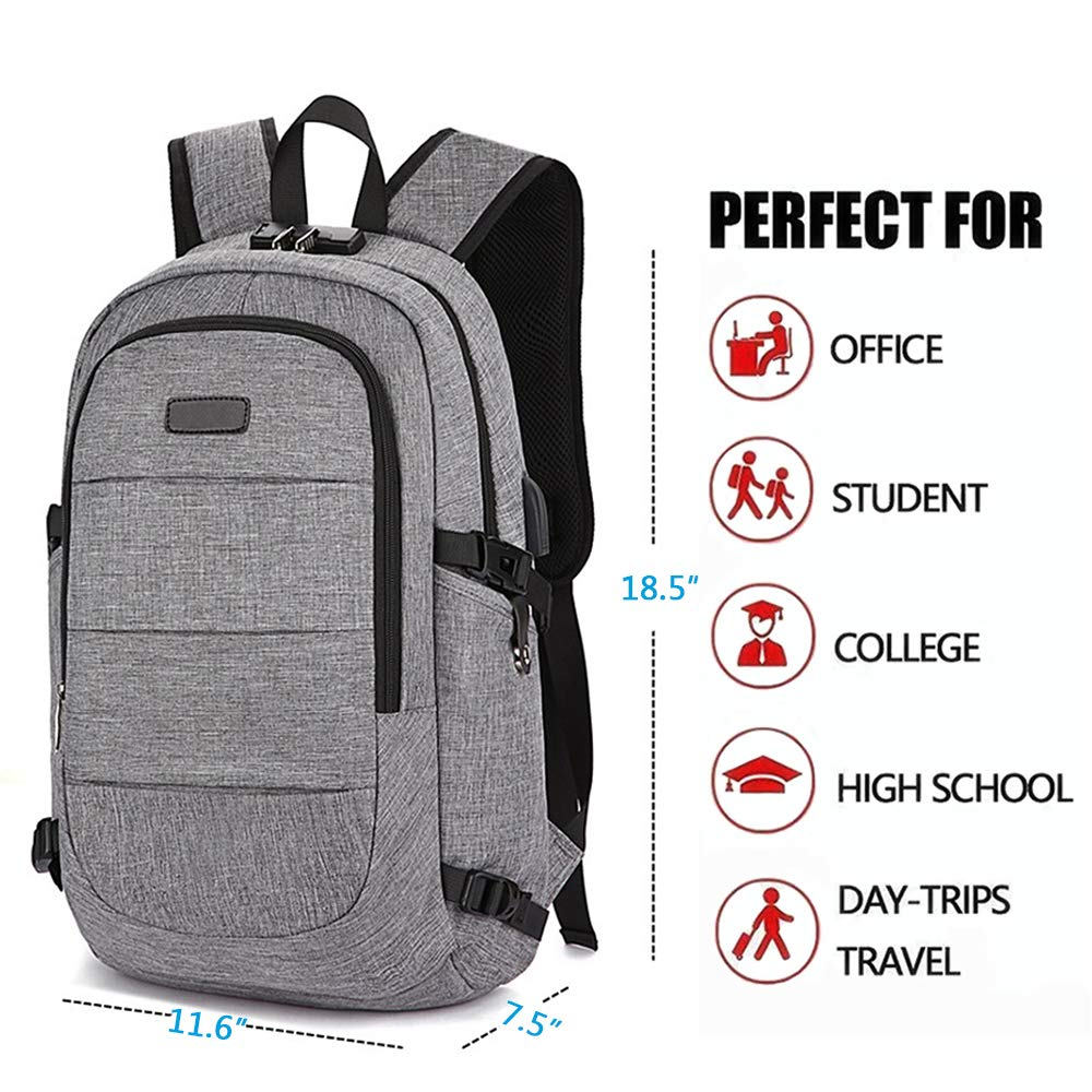 Lmeison Business Laptop Backpack, Anti Theft Travel Backpack with USB Charging Port & Headphone Interface for Women Men, Water Resistant Daypack Fits Under 15.6 Inch Laptop Notebook (Grey) by Lmeison (Image #3)