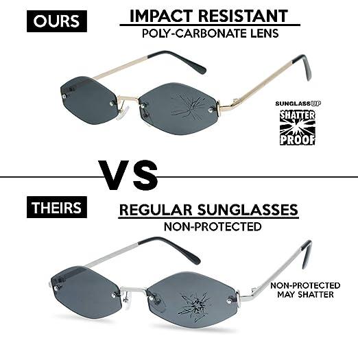 2beb5f4fd93 Amazon.com  SunglassUP - Extremely Small Mini Narrow Frameless Geometric Oval  Retro Vintage Sunglasses Unisex (Black Frame