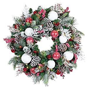 [30 Inch Artificial Christmas Wreath] – Frosted Wonderland Collection – Red White Decoration – Pre Lit with 50 Candy…