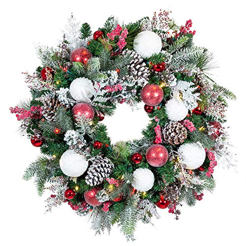 [30 Inch Artificial Christmas Wreath] - Frosted Wonderland Collection - Red White Decoration - Pre Lit with 50 Candy Cane Colored LED Mini Lights - Includes Remote Controlled Battery Pack with Timer (Wreath 30 Artificial Christmas)