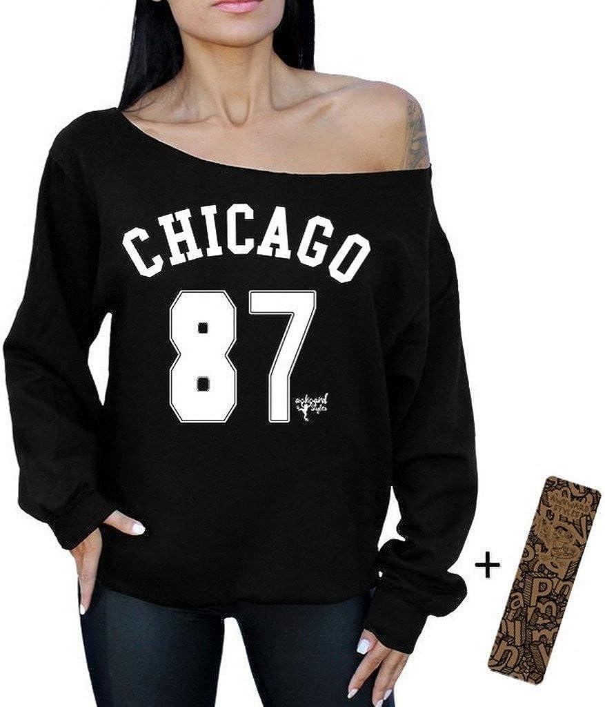 Awkwardstyles Chicago 87 Off The Shoulder Oversized Sweatshirt Bookmark2XL Black