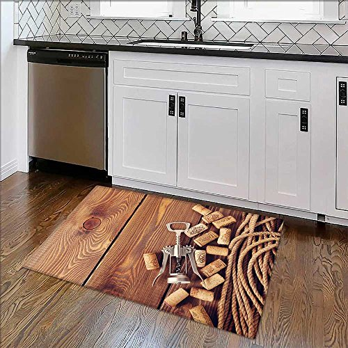 Durable Rug Wine corks and corkscrew over rustic wooden table background Top view with copy space Extra Absorbent W22