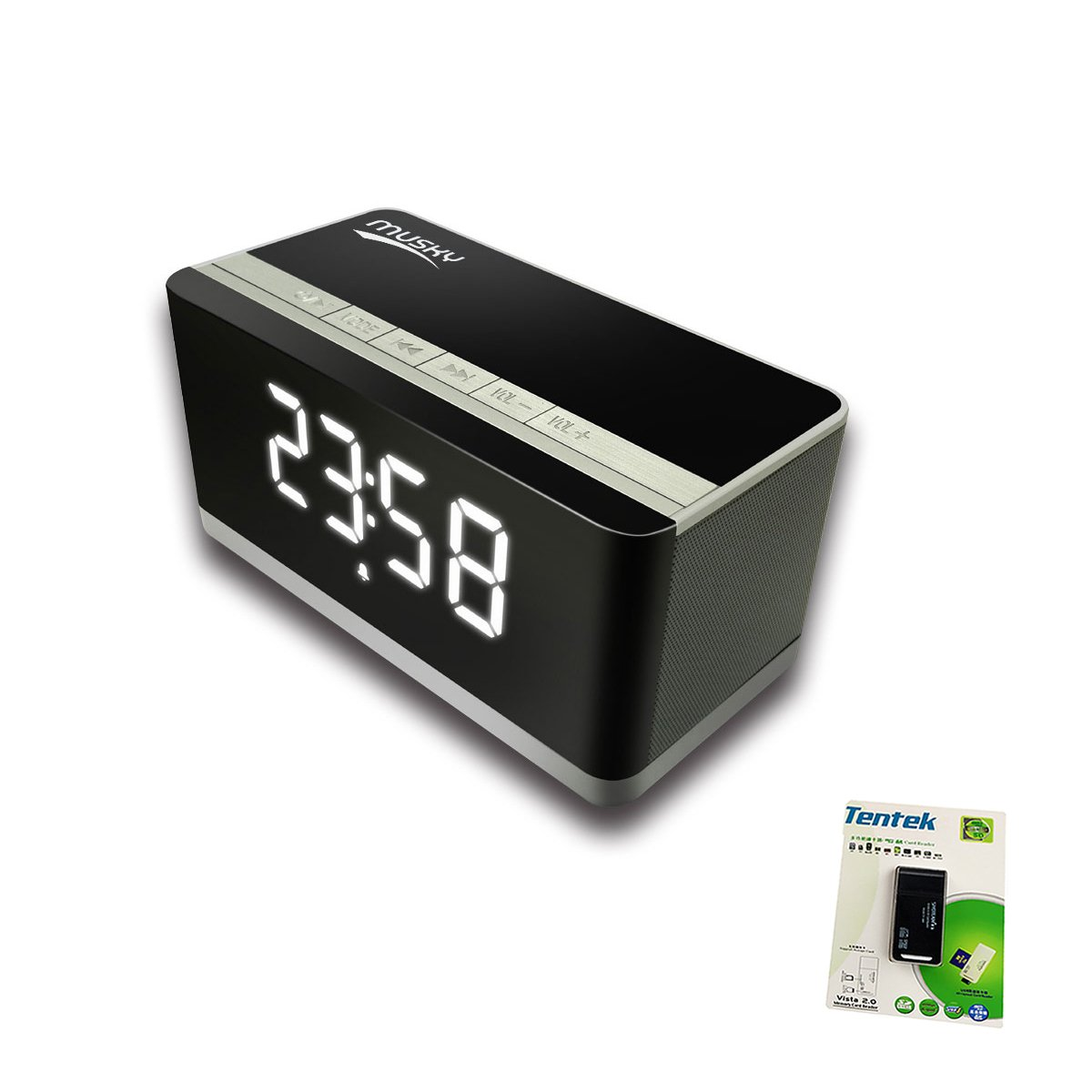 Portable Bluetooth Speaker + Touch Sensor Music Reactive Multi-color LED Night Light , with LED Display, Handsfree Speakerphone, Alarm Clock, Micro SD Card & USB & AUX Slots for Smart Phone, MP3, iPad and Tablet i-tentek 4336685349