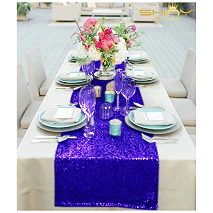 bridal shower decorations 14in x 108in royal blue sequin table runners party table runners 108 inches
