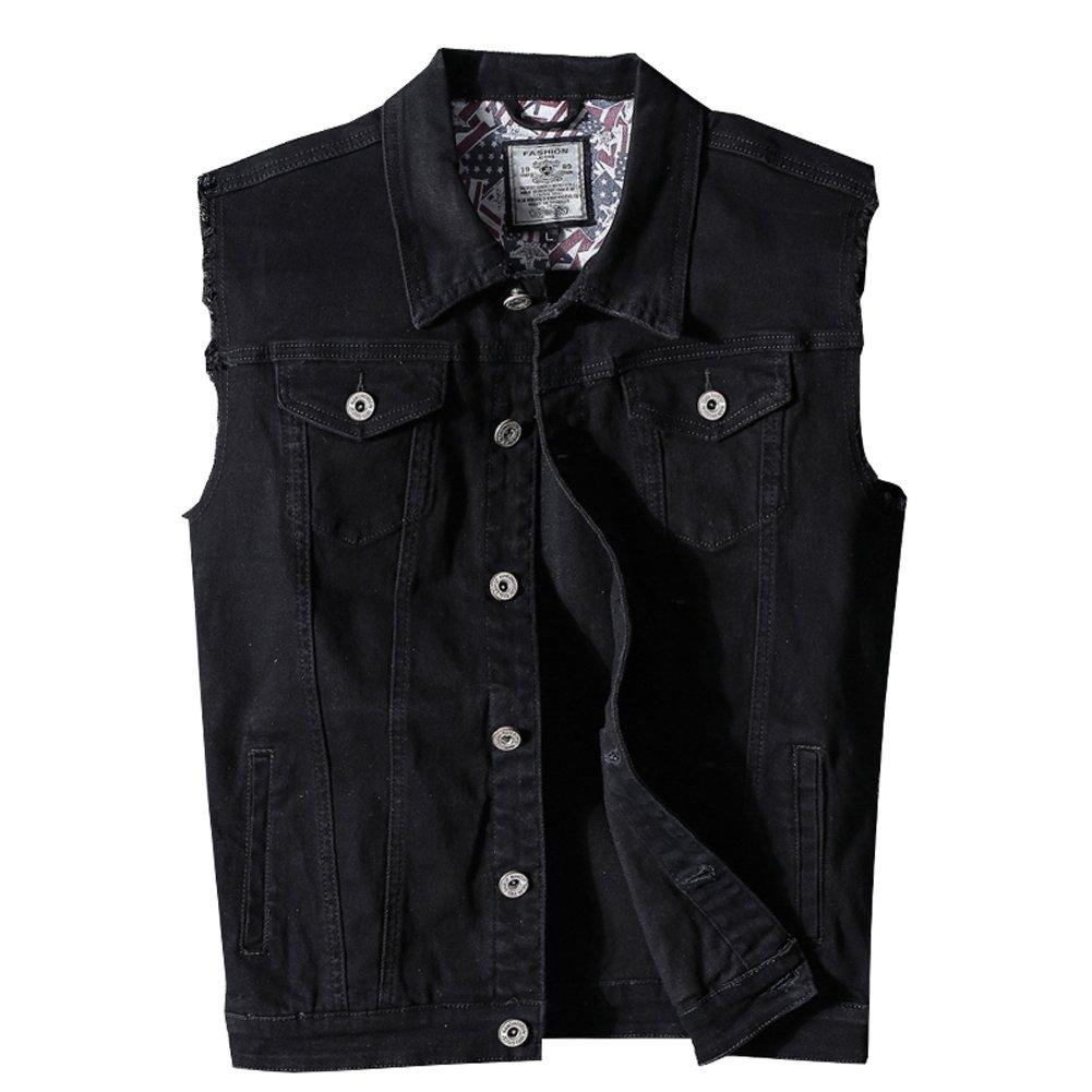 Heihuohua Men's Casual Denim Vest, Black, Medium by Heihuohua
