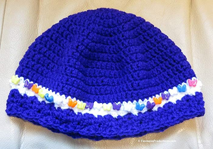 Cloche Hat - Chemo Cap - 22-24 Inches fits M-L Adult - Purple with  Butterflies - Reading dd7c5ec9902f