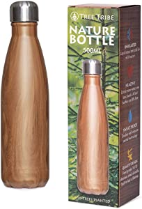 Tree Tribe Nature Bottle - Stainless Steel Insulated Water Bottle - Woodgrain 500 ml (17oz)