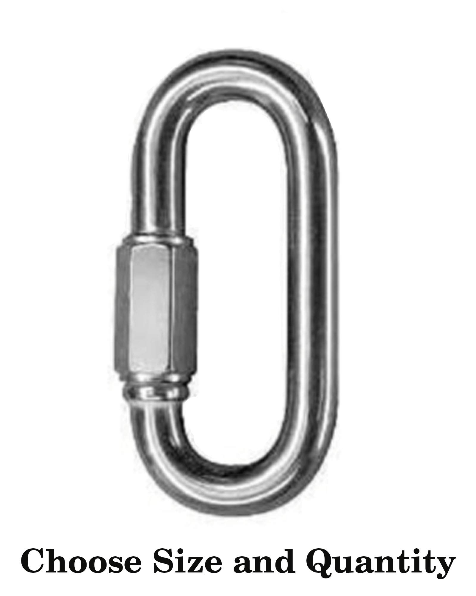 D Shape Locking Carabiner - Zinc Plated Quick Link Camp Oval Quick Link Chain Connector Screw Lock Carabiner Key Ring Oval Locking Carabiner Screw Lock Carabiner (250, 5/16'')