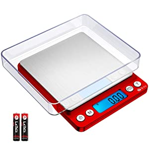 Brifit Upgraded Digital Kitchen Scale, 500g-0.01g Mini Pocket Jewelry Scale, Cooking Food Scale with Back-Lit LCD Display, 2 Trays, 6 Units, Auto Off, Tare, Stainless Steel (Batteries Included)