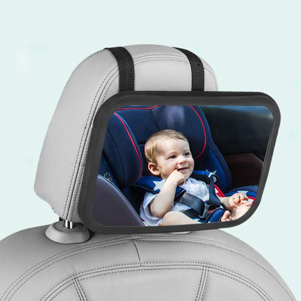 Large Baby Car Mirror High-Definition Infant Child in Rear Facing 360/° Adjustment Backseat Mirror with Mirror Sleeve Helps to Concentrate Your Babys Attention