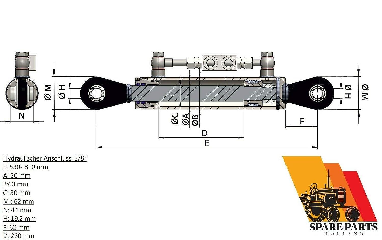 Hydraulischer Oberlenker Kat 1 1 Mit Sperrblock 530 810 Mm Mit 2 X Schlauch Gewerbe Industrie Wissenschaft