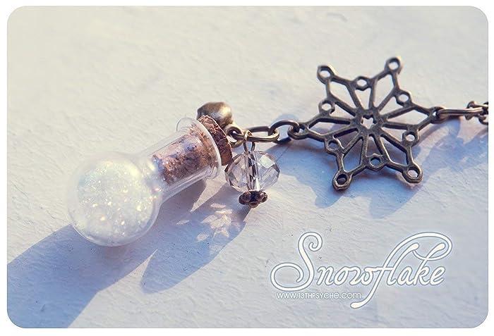 Colgante de la botella de vidrio. Lindo collar. botella miniatura. Botella de nieve, collar de copo de nieve de invierno, regalo de navidad, regalos para ...
