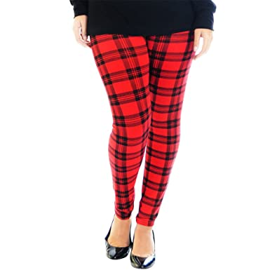 5fa1c5ae3daddb LessThanTenQuid Ladies Womens Red Tartan All Over Print Stretchy Leggings  UK 8-18: Amazon.co.uk: Clothing