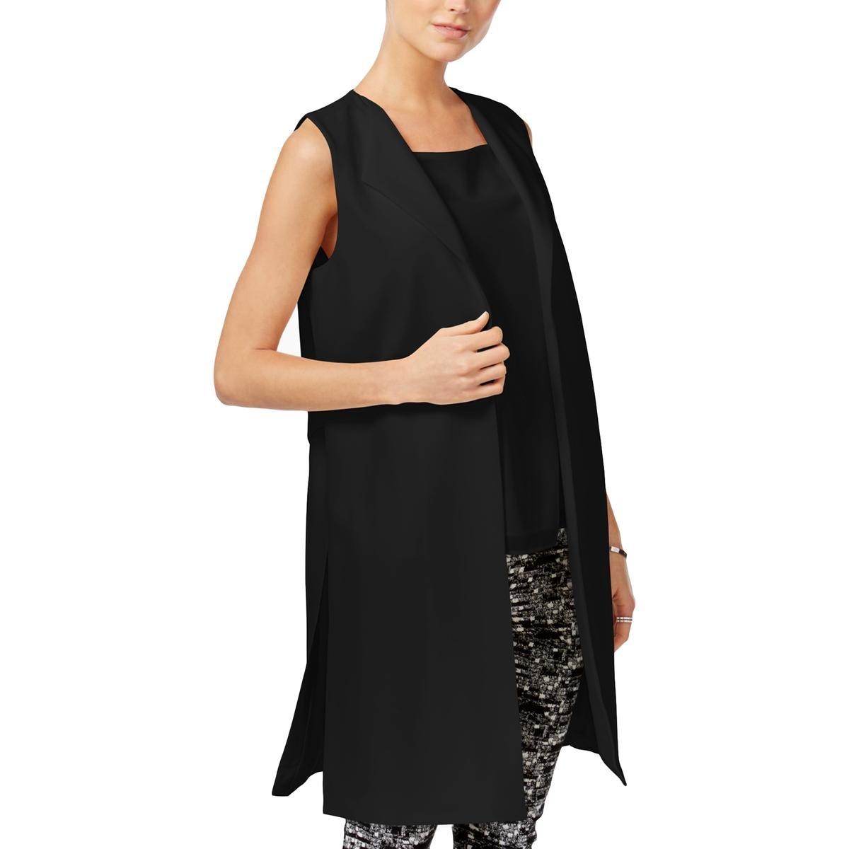 Bar III Womens Solid Long Suit Vest Black XL by Bar III