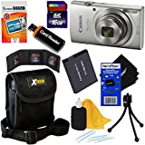 Canon PowerShot ELPH 180 Digital Camera w/ Image Stabilization and Smart AUTO Mode (Silver) - International Version + NB-11L Battery + 8pc 16GB Accessory Kit w/ HeroFiber Gentle Cleaning Cloth