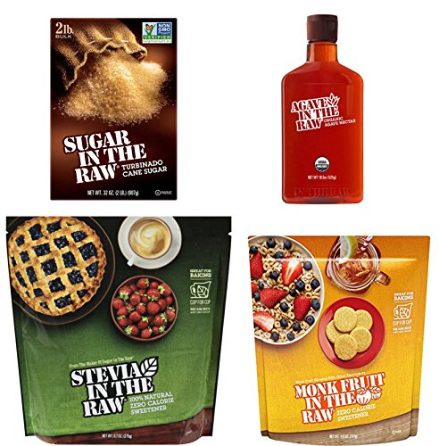 Sugar Substitute Variety Pack - Bundle of 4 Flavors In The Raw, Stevia, Monk, Turbinado, Agave, Baking Gift Package, Gluten Free