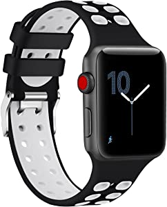 Black White Sport Edition Band for Apple Watch 38mm 42mm,Soft Silicone Sport Strap Replacement Bands with Classic Square Stainless Steel Dual Buckles for iWatch Apple Watch Series 3/2/1