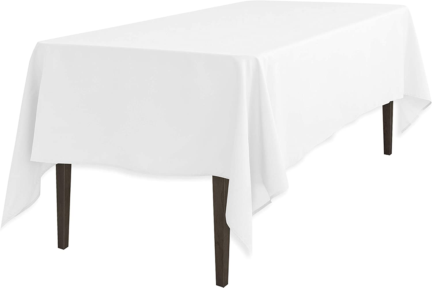 LinenTablecloth 60 x 102-Inch Rectangular Polyester Tablecloth White: Home & Kitchen