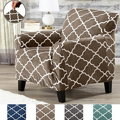 Great Bay Home Modern Velvet Plush Strapless Slipcover. Form Fit Stretch, Stylish Furniture Shield/Protector. Magnolia Collection Strapless Slipcover by Brand. (Chair, Walnut Brown) - Living Room Walnut Sofa