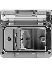 4Box 4B.W.RAL.015 Wide IP55, Presa Elettrica da Esterno per Scatola da Incasso Tipo 503 con Schuko Bivalente, Grigia