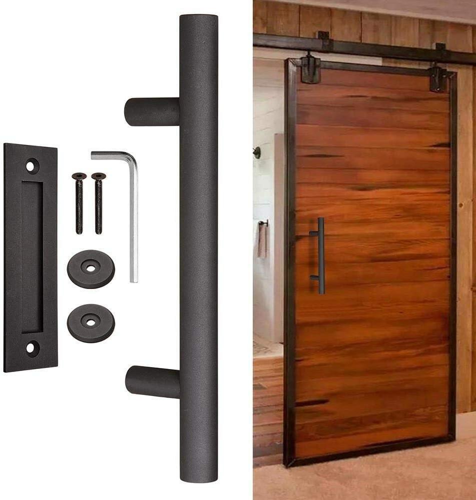12 Sliding Barn Door Pull Flush Handle Gate Hardware Set Cast Iron Matte Coffee