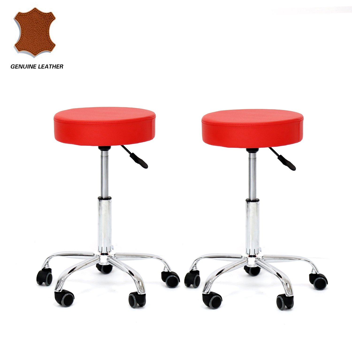 Kinbor Set of 2 Genuine Leather Adjustable Hydraulic Rolling Swivel Bar Stool Tattoo Facial Massage Spa Stool Chairs (Red)