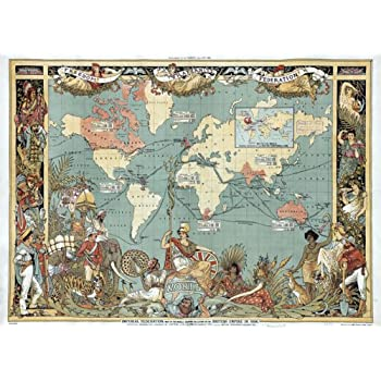 Amazon maps british empire 1886 imperial illustrated people mp11 vintage old 1886 british empire map of the world poster re print a3 432 x 305mm 165 x 117 gumiabroncs Gallery