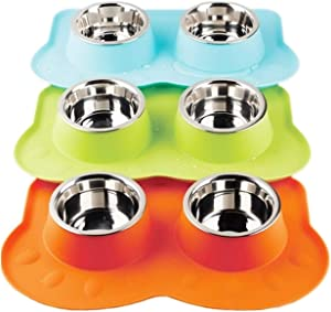 Pawise Dog Bowls Double Stainless Steel Bowls with Non-Skid Removable Silicone Mat Cat Bowls (Color Random)